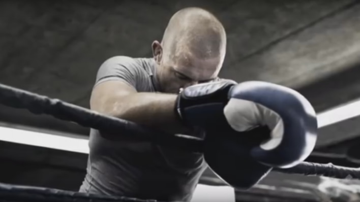 Georges St-Pierre training in ring with gloves epic