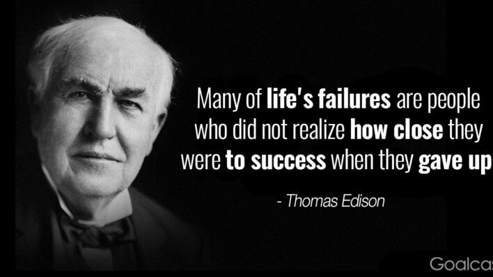 Thomas Edison quotes - Many of life's failures are people who did not realize how close they were to success when they gave up