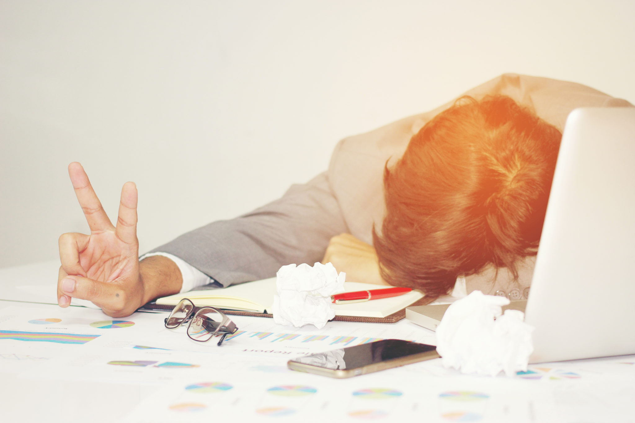 work martyr - workaholic sleeping at work