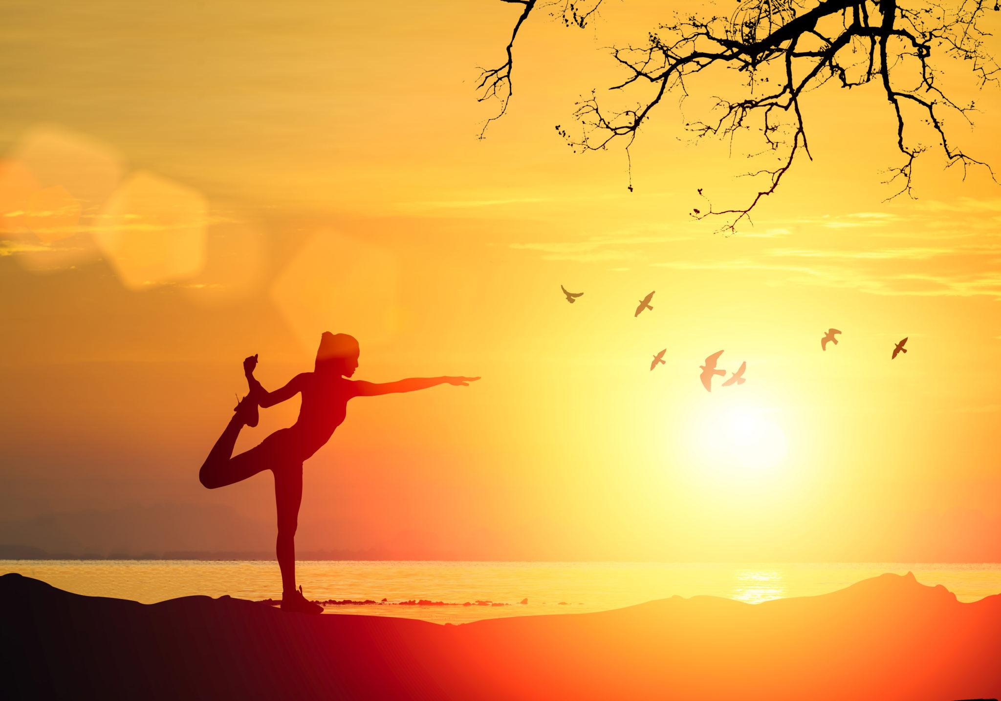 Stunning photo of a yoga pose at sunrise