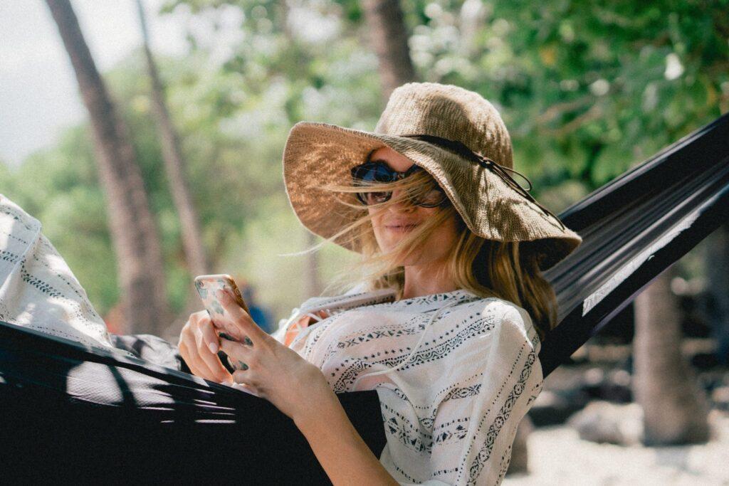 Woman-lounging-outside