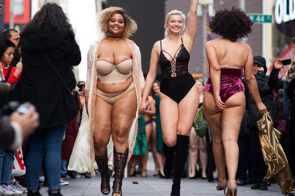 Models of All Sizes Don Lingerie to Transform Times Square Into Body  Positive Catwalk 2b6a8c35e