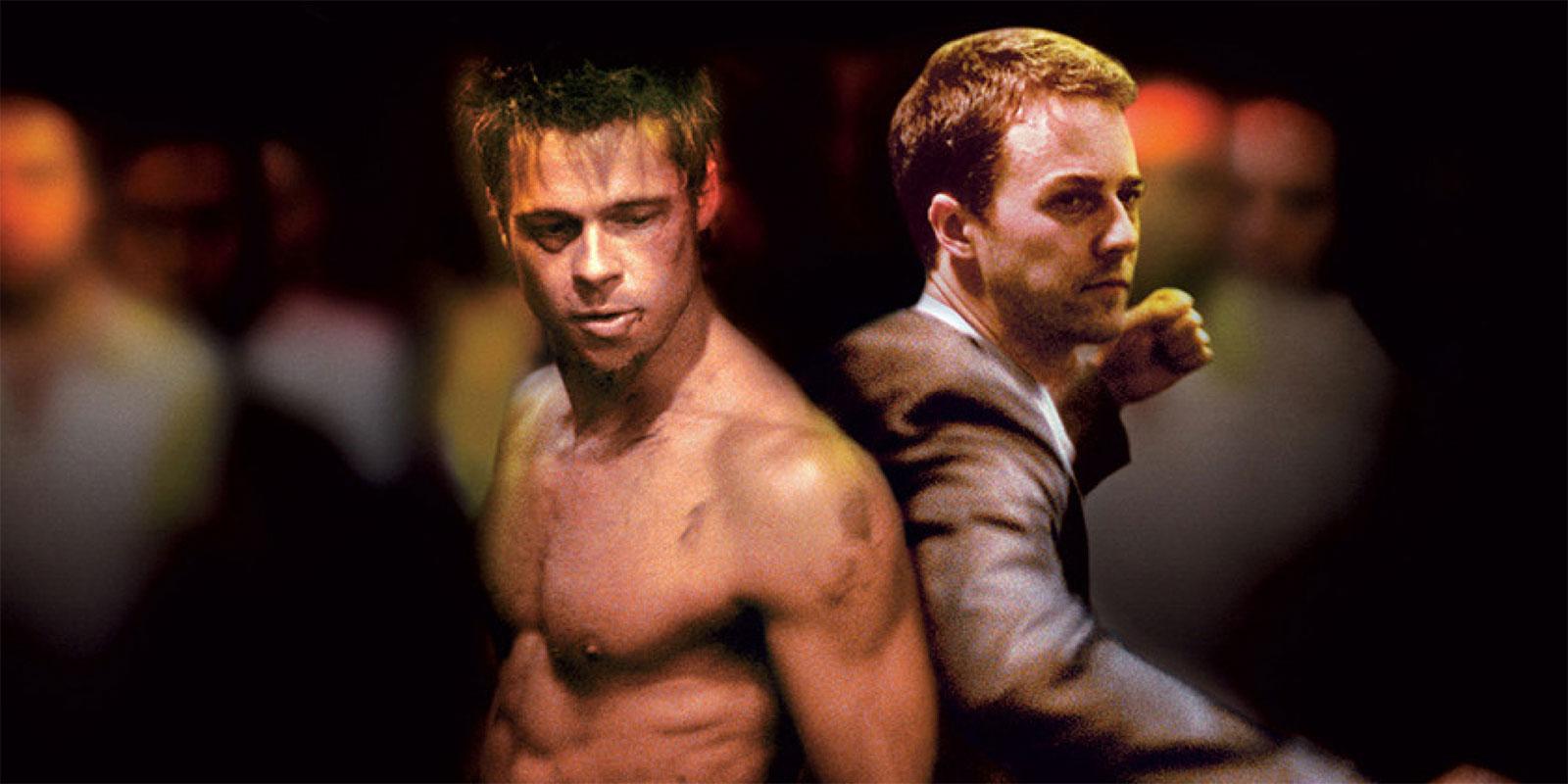 Tyler Durden (Brad Pitt) and Edward Norton in Fight Club
